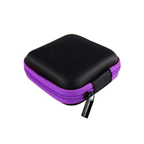 Fairly 8cm Earphone Wire Organizer Box Data Line Cables Storage Box Case Container Coin Headphone Protective Box Case Container,Purple 8CM