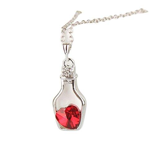 "Fheaven Women Fashion Popular Love Drift Bottles Crystal Necklace 14.5"" (Red)"