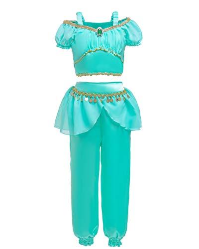 JiaDuo Girls Princess Jasmine Costume Halloween Cosplay Dress Up 4-5 ()