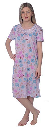 Women's Floral Print Short Sleeves Lace Chest Nightgown JR132 Purple M