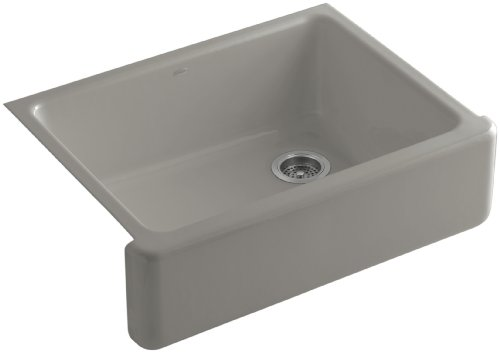 Kohler K-6487-K4 Whitehaven Self-Trimming Apron Front Single Basin Kitchen Sink with Tall Apron, Cashmere