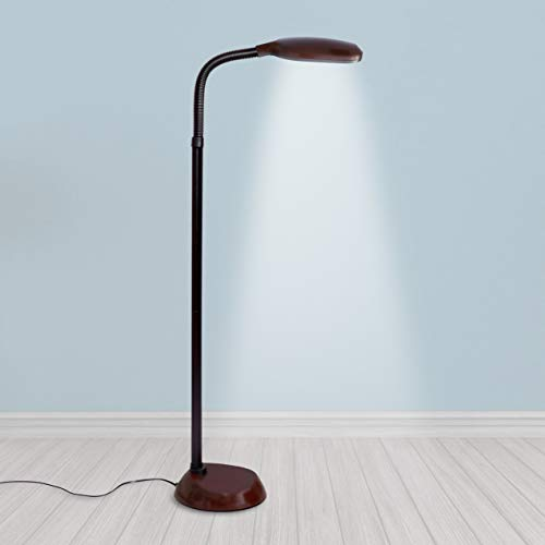 (Kenley Natural Daylight Floor Lamp - Tall Reading Task Craft Light - 27W Full Spectrum White Bright Sunlight Standing Torchiere for Living Room Bedroom or Office - Adjustable Gooseneck Arm - Dark Wood)