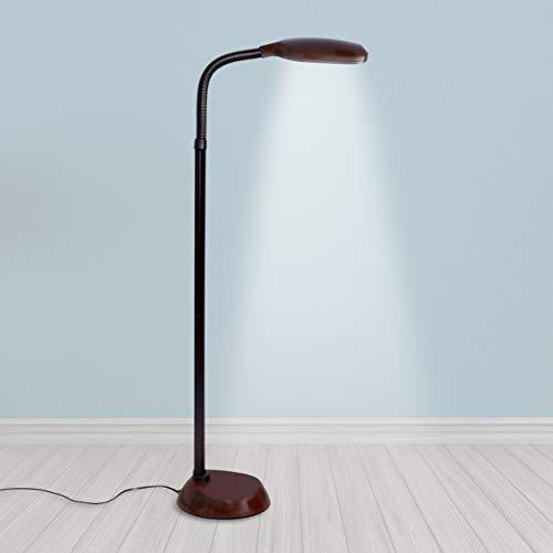 Kenley Natural Daylight Floor Lamp - Tall Reading Task Craft Light - 27W Full Spectrum White Bright Sunlight Standing Torchiere for Living Room Bedroom or Office - Adjustable Gooseneck Arm - Dark Wood ()