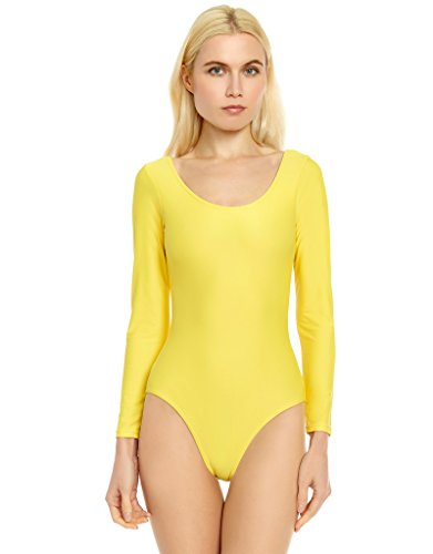 Leveret Womens Leotard Yellow Long Sleeve X-Large -