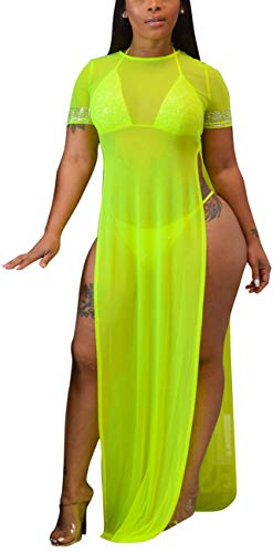 Women's Sexy See Thur Long Maxi Summer Dresses Plus Size Casual Loose Round Neck Short Sleeve Beach Coverups Split Side Stretchy Sheer Mesh Swimsuit for Club Fluo Yellow ()