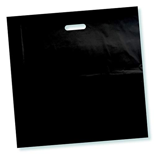 100 Pack 16 x 16 with 2 mil Thick Black Merchandise Plastic Glossy Retail Bags   Die Cut Handles   Perfect for Shopping, Party Favors, Birthdays, Children Parties   Color Black   100% Recyclable