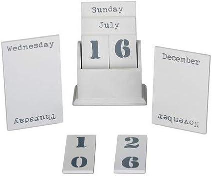 A6 con Giorni della Settimana Ornamentale Relaxdays Calendario Perpetuo in Legno Bianco Mesi /& Date