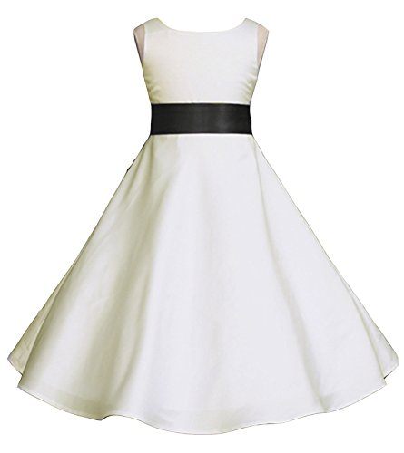 Wedding Pageant Ivory A-Line Matte Satin Jr. Bridesmaid Flower Girl Dress (18, Ivory/Black) ()