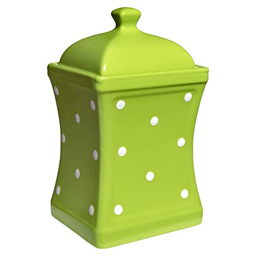 City to Cottage Handmade Lime Green and White Polka Dot Large Ceramic 31.5oz/900ml Kitchen Storage Jar with Lid | Pottery Canister, Cookie Jar, Housewarming Gift