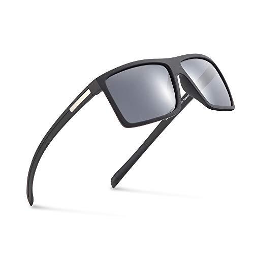(2020Ventiventi Polarized Sunglasses for Men Classic Styles Square Lens Smoke Glasses Shade Rimmed 51mm UV Protection Lightweight Desinger for Driving)
