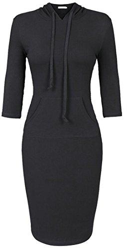 Black Party Pocket Hooded Big Domple Slim Drawstring Dress Women's Midi Sport RCqxw1g