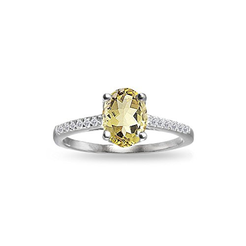 Sterling Silver Citrine and White Topaz Oval Crown Ring, Size ()