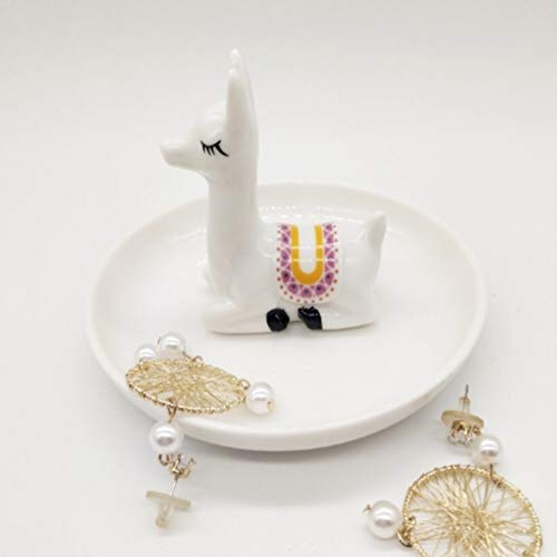 CheeseandU Ceramics Alpaca Jewelry Tray Ring Holder Cute Elegant Llama Organizer Jewelry Display Holder Ornament Engagement Wedding Rings Holder Stand for Couples Lovers Friends Gift (White Alpaca)