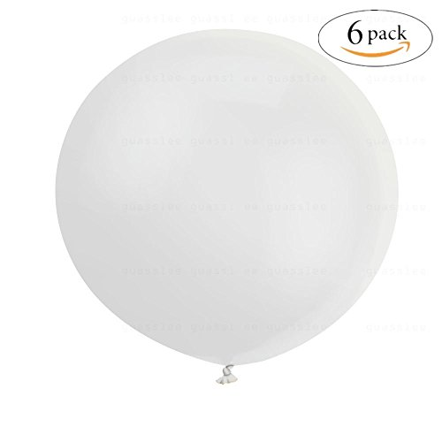 ZiYan 36 Inch Giant Latex Balloon Pearlescent White (Premium Helium Quality) Pkg/6 -
