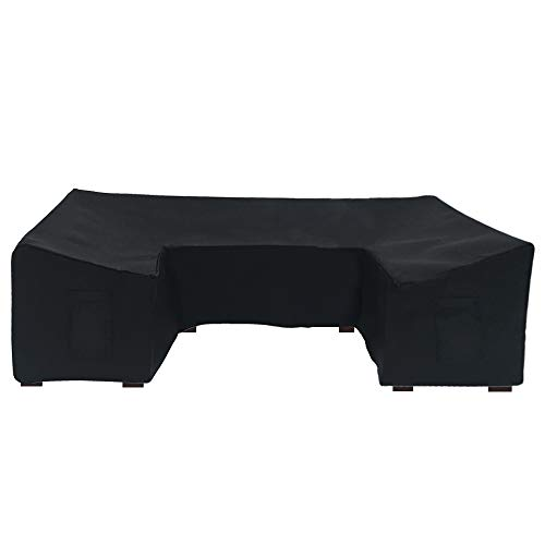 Linkool U Shaped Outdoor Furniture Covers Patio Sectional Couch Protector Black Waterproof for 7 Piece Sofa Sets