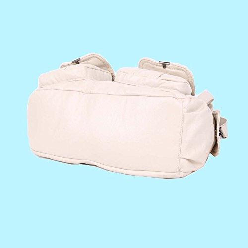 Angelkiss 2 Cremalleras Superiores Bolsillos Multi bolsos Lavados Monederos de Cuero Bolsas de Hombro Mujer 5739/1 Beige
