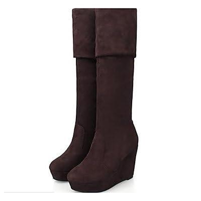 RTRY Chaussures pour femmes Pu cuir Nubuck Bottes Mode hiver Slouch Boots Boots Talon plat Bottes pour un brun noir