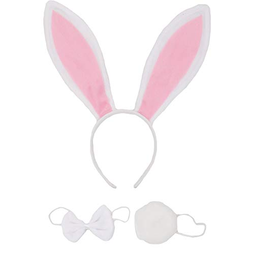 SZTARA Cute Rabbit Ears Tail and Bow Tie Party Costume kit Plush Bunny Halloween Costume kit, White, One Size]()