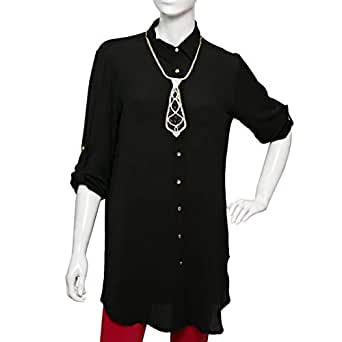 SVUP Black Mixed Shirt Neck Shirts For Women