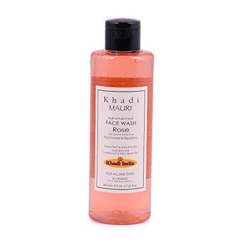 Khadi Mauri Herbals Rose Herbal Face Wash, 210ml (Best Face Wash In India For Pimples)