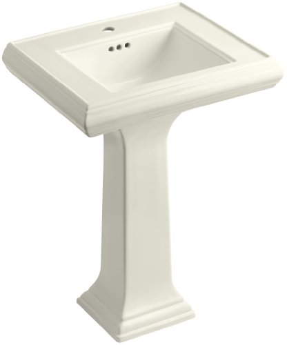 KOHLER K-2238-1-96 Memoirs Pedestal Bathroom Sink with Single-Hole Faucet Drilling and Classic Design, Biscuit