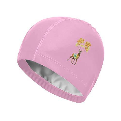 Faleny Swim Cap, Breathable Swimming Cap for Men Women, Keep Hair Dry, Waterproof PU Swimming Hat Elastic Pool Cap Fit for Long Hair Short Hair - Deer, Pink