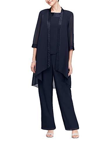 (Mother of The Bride Chiffon Pant Set Three Piece Pantsuit with Jacket Plus Size Navy Blue)