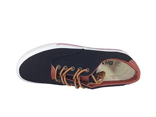 Hover Herenmode Klassieke Canvas Veter Oxford Schoenen Sneaker Zwart