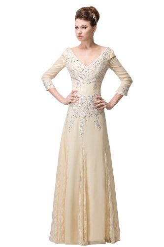 herafa p32715-6 Evening Gowns Elegant V-Neck 3/4 Sleeve Hand-Sewn Beads Lace Applique Long 0 A-Line Fresh Pink