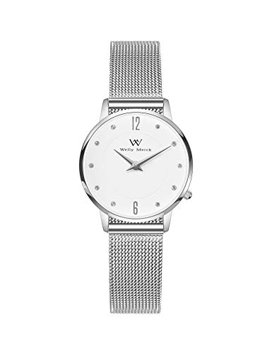 Welly Merck Womens Watches Fighter 26mm Diameter Swiss Movement Sapphire Crystal Women Watch 12mm Silver Mesh Strap Band 164ft Water Resistant