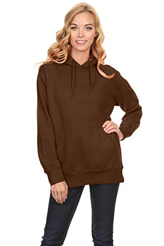 Simlu Fleece Pullover Hoodies Oversized Sweater Reg and Plus Size Sweatshirts, Brown, Medium