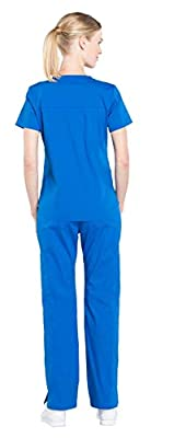 Cherokee Workwear Professionals Women's Scrub Set - WW665 V-Neck Top & WW170 Mid Rise Straight Leg Pull-on Cargo Pant