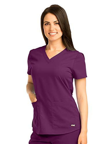 Grey's Anatomy 71166 V-Neck Top Currant L by Barco (Image #1)