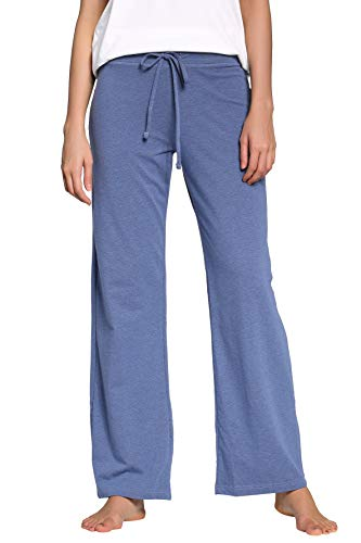 CYZ Women's Basic Stretch Cotton Knit Pajama Sleep Lounge Pan-DarkBlueMelange-L (Shirt Pajamas Pants)