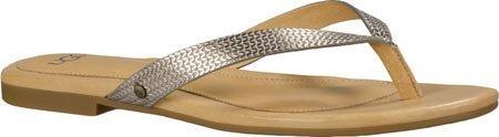 UGG Women's Allaria II Metallic Braid Flip Flop,Soft Gold,US