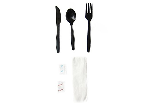Fuling, Black Heavy-Medium Weight Plastic Cutlery Kit, Includes Soup-Spoon, Fork, Napkin, Knife, Salt/Pepper, Disposable (Box of 250) (Disposable Cutlery Kits)