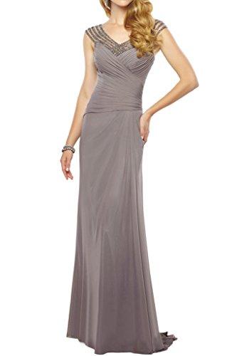 Figurbetont La Braut Hochwertig mia Abendkleider Brautmutterkleider Chiffon Blau Abschlussballkleider Grau Royal Lang q8OgcwSq