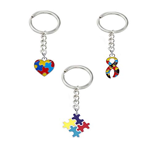 Autism Awareness Keychain, Autism Awareness Products Toys Charm Puzzle Piece Key Chain Set of 3 ()
