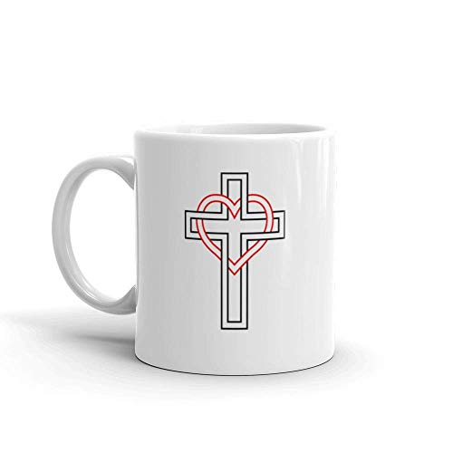 Dozili Funny Coffee Mug - Intertwining Of The Heart And Christian Cross Symbol Faith Love To God True Dear Milk Ceramic Coffee Mug Cup, 11 Oz, White