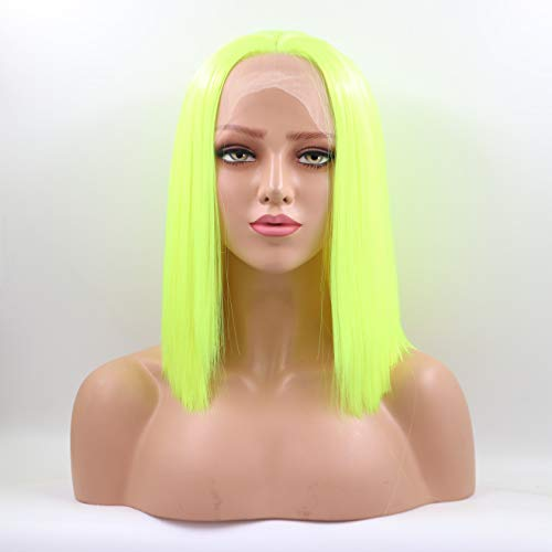Lucyhairwig Short Bob Lace Front Wig Neon Green Synthetic Lace Front Bob Wig Makeup Wigs
