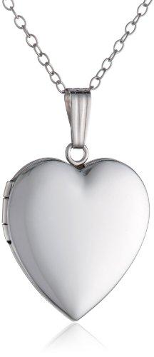 "10k White Gold Polished Heart Locket Necklace, 18"""