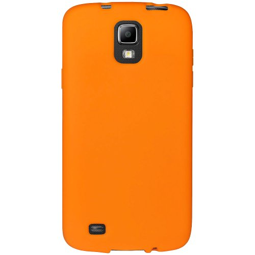 Amzer AMZ95931 Soft Silicone Skin Fit Jelly Case Cover for Samsung Galaxy S4 Active I9295 - Retail Packaging - Orange