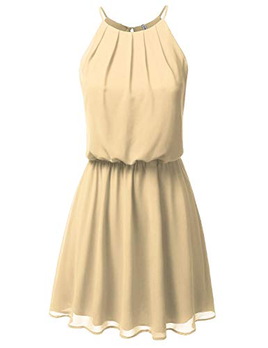 JJ Perfection Women's Sleeveless Double-Layered Pleated Mini Chiffon Dress Beige M