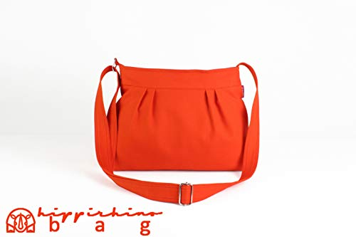 Orange Small Canvas Bag Shoulder Purse Everyday Bag Fully Lined Pleated Cotton Casual Bag Colorful Washable All My Bags Are Made After Order - Cotton Bag Shoulder Lined Fully