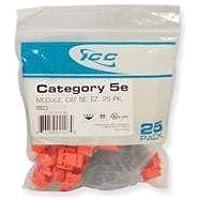 ICC ICC-CAT5JKPK-RD IC107E5CRD - 25PK Cat5 Jack - Red
