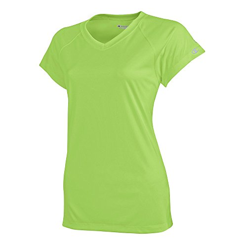 (Champion Women's Essential Double Dry V-Neck T-Shirt_Neon Lime Green_X-Small)