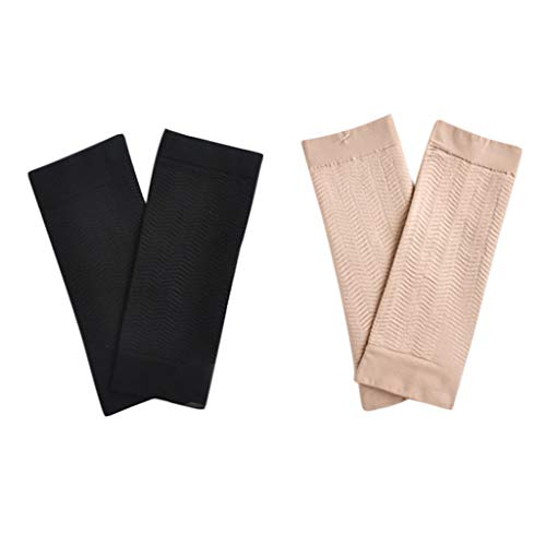 Xuways 2 Pairs Weight Loss Arm Shaping Elastic Elastic Plastic Hand Socks Set for Cycling, Running, Basketball, Baseball, Football, Golf, Athletic (Black+Khaki)