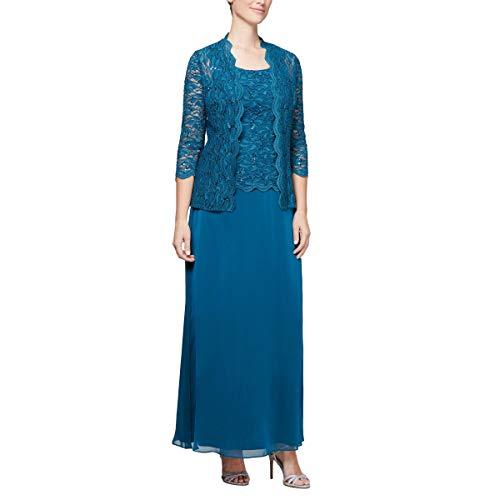Alex Evenings Women's Sleeveless Dress and Matching Jacket, Peacock, 6
