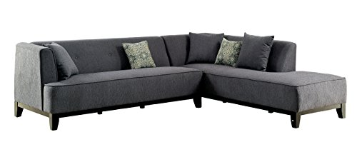 HOMES: Inside + Out Betta Fabric Padded L-Shaped Sectional, Gray