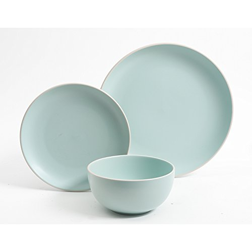 Gibson Home Rockaway 12-Piece Dinnerware Set Service for 4, Teal Matte by Gibson Home (Image #1)